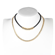 UE-Trendy Layered Jet Black and Gold Tone Designer Choker & Necklace Combination - $21.99