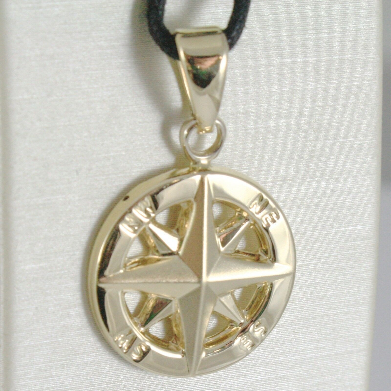 18K YELLOW GOLD WIND ROSE COMPASS CHARM PENDANT, MADE IN ITALY, DIAMETER 19 MM