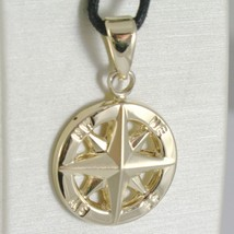 18K YELLOW GOLD WIND ROSE COMPASS CHARM PENDANT, MADE IN ITALY, DIAMETER 19 MM image 1