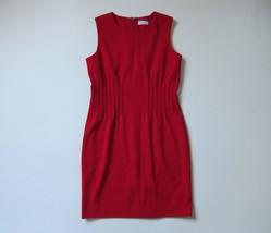 Calvin Klein Sleeveless Pintuck Sheath in Red Crew Neck Stretch Dress 10 - $23.99