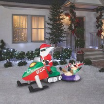 8' Santa Riding On Snowmobile w/Reindeer Airblown Inflatable Yard Decora... - $110.66