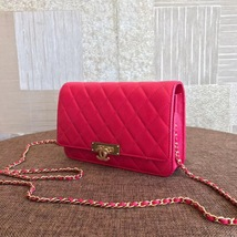 100% AUTH CHANEL HOT PINK Caviar Leather WOC Wallet on Chain WOC Bag GHW image 3