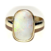 Real Opal 925 Sterling Silver Ring Adjustable 6 Carat Birthstone Size 5-13 - $46.54