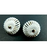 Vintage Signed Monet Earrings Mid Century White/Gold Tone Round Rib     ... - $24.49