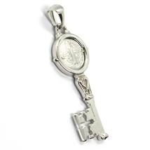 SOLID 18K WHITE GOLD KEY PENDANT, SAINT BENEDICT MEDAL, CROSS, 1.2 INCHES image 2