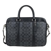 Perry Slim Briefcase In Signature (Coach F54803) Charcoal/Black - $224.99