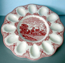 Johnson Brothers Old Britain Castles Pink Deviled Egg Serving Plate Dish New - $34.90