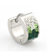 UNITED ELEGANCE Hoop Earrings With Faux Emerald & Swarovski Style Crystals - $9.99