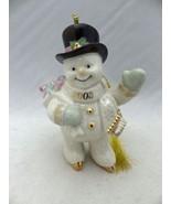 Lenox Annual Snowman ornament - 2003 Snowman on Skates with a bag of Gif... - $14.85