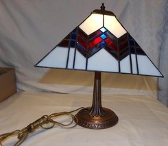 """Stained Glass Table Desk Lamp 14"""" Works Light Geometric Square Tiffany S... - $92.73"""