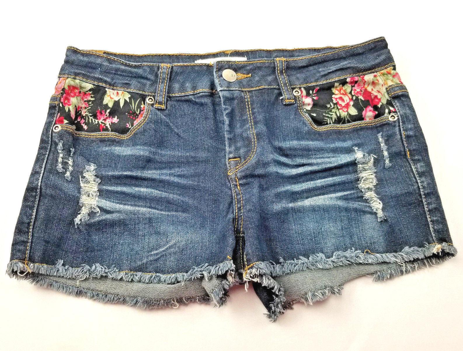 2.1 Denim Womens Jean Short Shorts Size 27 Flower Detail Distressed