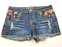 2.1 Denim Womens Jean Short Shorts Size 27 Flower Detail Distressed image 1