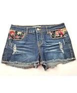2.1 Denim Womens Jean Short Shorts Size 27 Flower Detail Distressed - $10.74