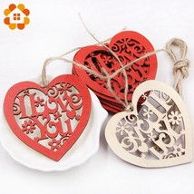 DIYHouse® 10PCS/Lot Red DIY Wooden Hearts Pendants Ornaments Wood Craft Wedding - $5.90