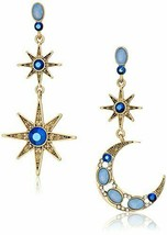 Betsey Johnson Women's Moon and Star Drop Earrings One Size, BLUE - $44.26