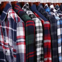 Size Chart 2015 New Spring Brand Mens Casual Plaid Shirts Long Sleeve Red and Bl