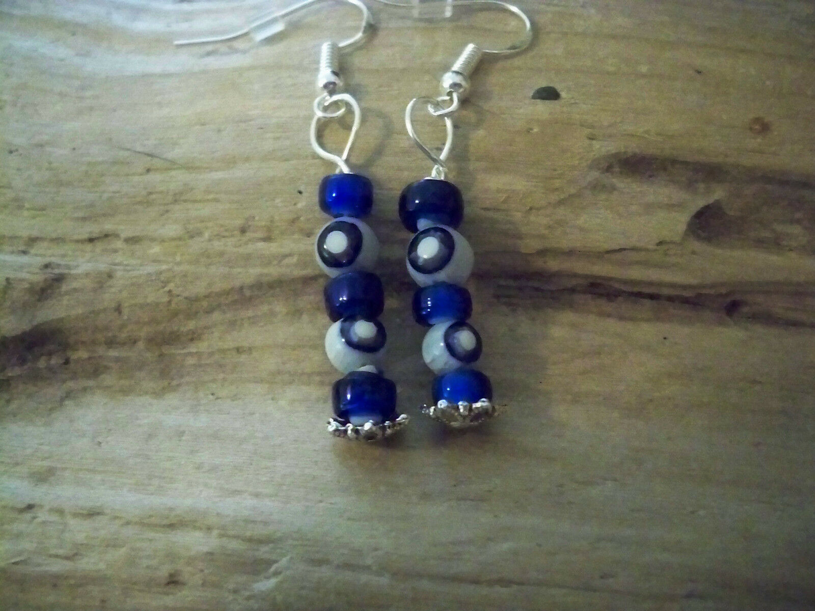 Vintage Millifiori & Glass Blue White Heart beaded Earrings  925 sliver Evil Eye