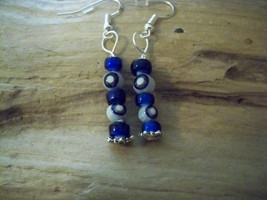 Vintage Millifiori & Glass Blue White Heart beaded Earrings  925 sliver Evil Eye image 1