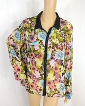 H&M Sheer Floral Button Down Blouse Top SZ 12 Colorful Black Pastel Chif... - $7.70