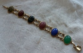 BAL-RON Gold Filled  Vertical Semi-Precious Stone Scarab Bracelet - $38.20