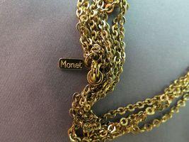 """VTG Monet Tassel Necklace Double Multi Chain Designer Gold Plated 28"""" Long image 5"""