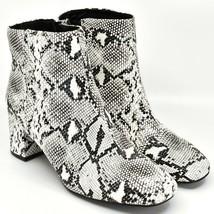 "Boohoo Faux Black & White Snakeskin Snake Skin Print 2.5"" Heel Boots Size 10 image 1"