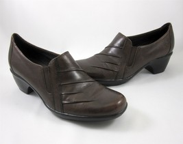 Clarks Shoes Brown Partridge 7 M Leather Slip On Ladies Style 89488 Loafer - $39.99