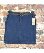 Sonoma Original Fit Denim Skirt Womens Size 16 Belted Slit Pockets - $24.75