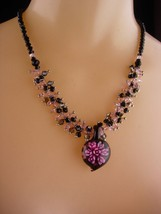 Murano Flower necklace / sweetheart gift / signed necklace / pink black ... - $75.00