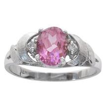 1.50 Carat Pink Quartz & 0.04 Carat Diamond Accent Vintage Ring 14K Whit... - $246.51