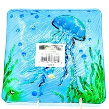 "Jaco Handcrafted Ocean Jellyfish Fused Glass 8.25"" Square Decorative Plate image 2"