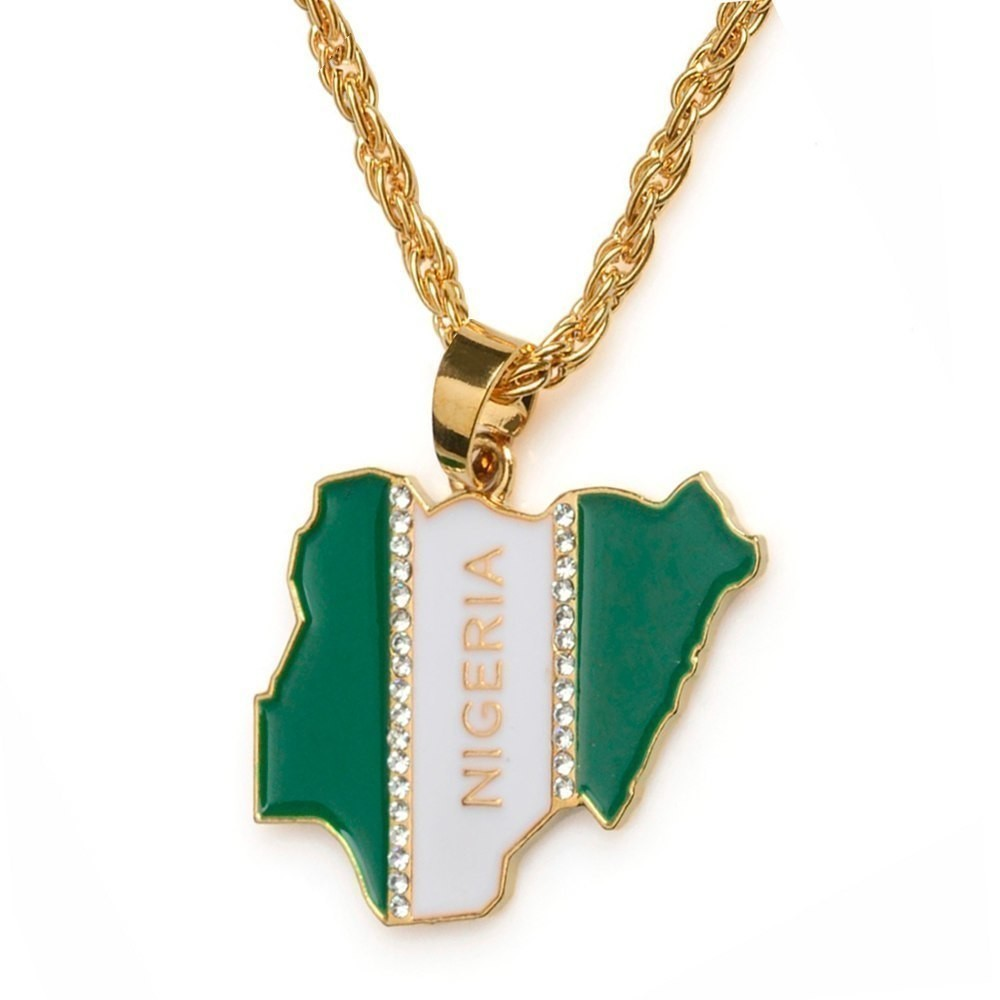 Primary image for Nigeria Map Flag Rhinestone Pendant Necklaces for Women Men
