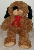 BIG Brown Puppy Dog Plush Stuffed Animal Toy Red Bow Soft Lovey Inter-Am... - $34.60