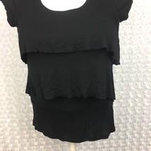 Old Navy Medium Black Ruffle Layer Front Cap Sleeve Scoop Neck Top Shirt... - $8.59