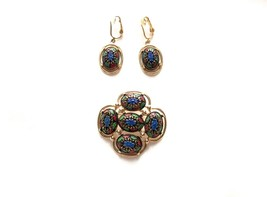 Vintage Sarah Coventry Light Of The East Mosaic Brooch & Dangle Earring Set - $22.07