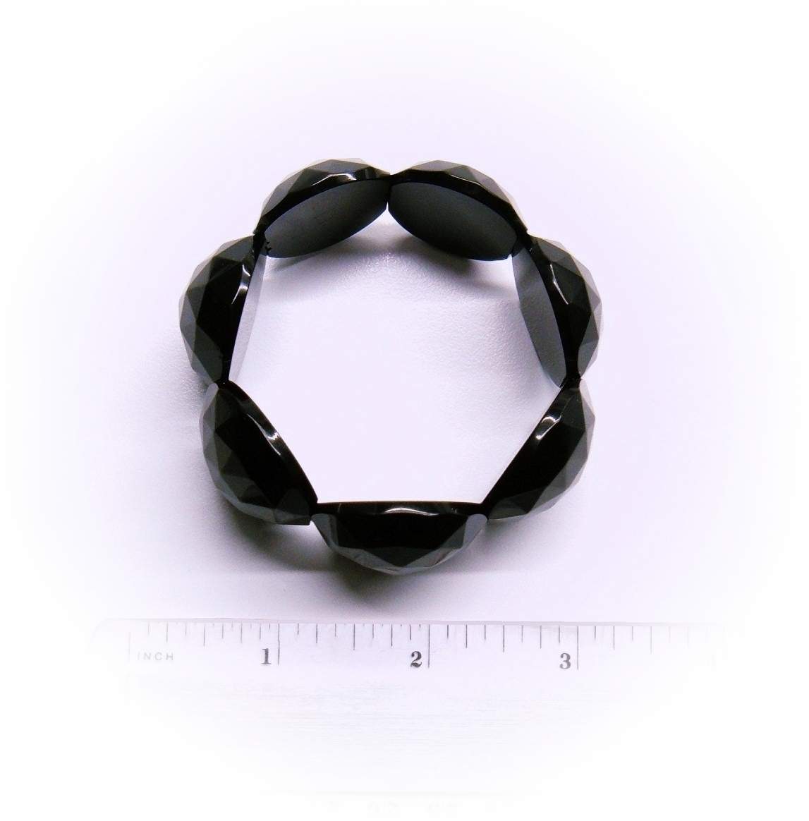 c.1880 Antique Whitby Jet Large Round Rose Cut Links Hand Carved Bracelet