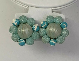 Vintage Signed Japan Clip On Earrings Blue Cluster - $16.45