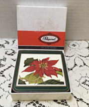 Vintage Pimpernel Deluxe Finish Coasters Red Poinsettia Christmas Flower... - $10.50