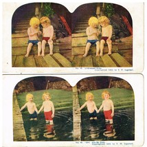 1899 Antique Cardboard Stereoscope Stereoview Cards Boy Swimming Ingerso... - $10.88
