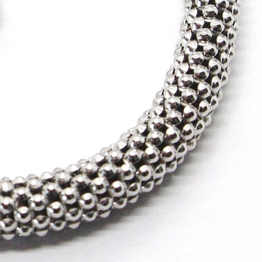 18K WHITE GOLD BRACELET, 18.5 CM, 7.3 INCHES, BASKET WEAVE TUBE, 5 MM THICKNESS