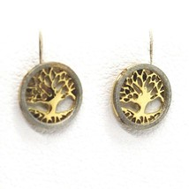 18K YELLOW & WHITE GOLD, MINI 7 MM, ROUND EARRINGS BEAUTIFUL TREE OF LIFE image 2