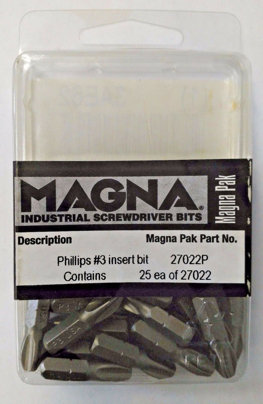 "Primary image for Magna 3AE62 Phillips #3 Insert Bits 1/4"" Hex 27022P 25 Pack USA"
