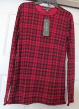 RALPH LAUREN Knit Top Shirt L/S 100% COTTON Red Black Check Women's M NWT - $24.95