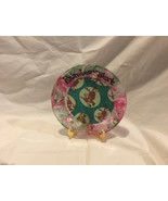 """Reindeer Treat Hand Painted Glass Christmas Plate Red Green Marble Rim 7"""" - $9.99"""
