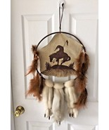 Large End of the Trail Wounded Native American Leather Mandela Dreamcatc... - $99.99