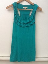 Forever 21 Green Ruffle Trim Scoop Neck Sleeveless Tank Top Medium - $8.95
