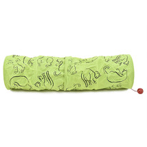 Pet Tunnel Cat Printed Green Lovely Crinkly Kitten Tunnel Toy With Ball ... - $15.49