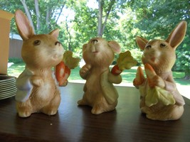 Easter BUNNIES RABBITS BISQUE FIGURINES w/Carrots & HOMCO Stickers - $25.00