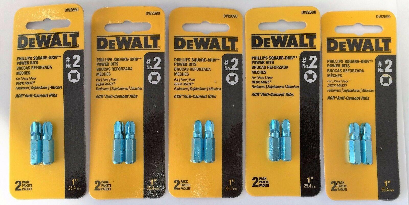 Dewalt DW2690 #2 Phillips Square Drive Power Screw Tips 5 (2PKS) - $5.94