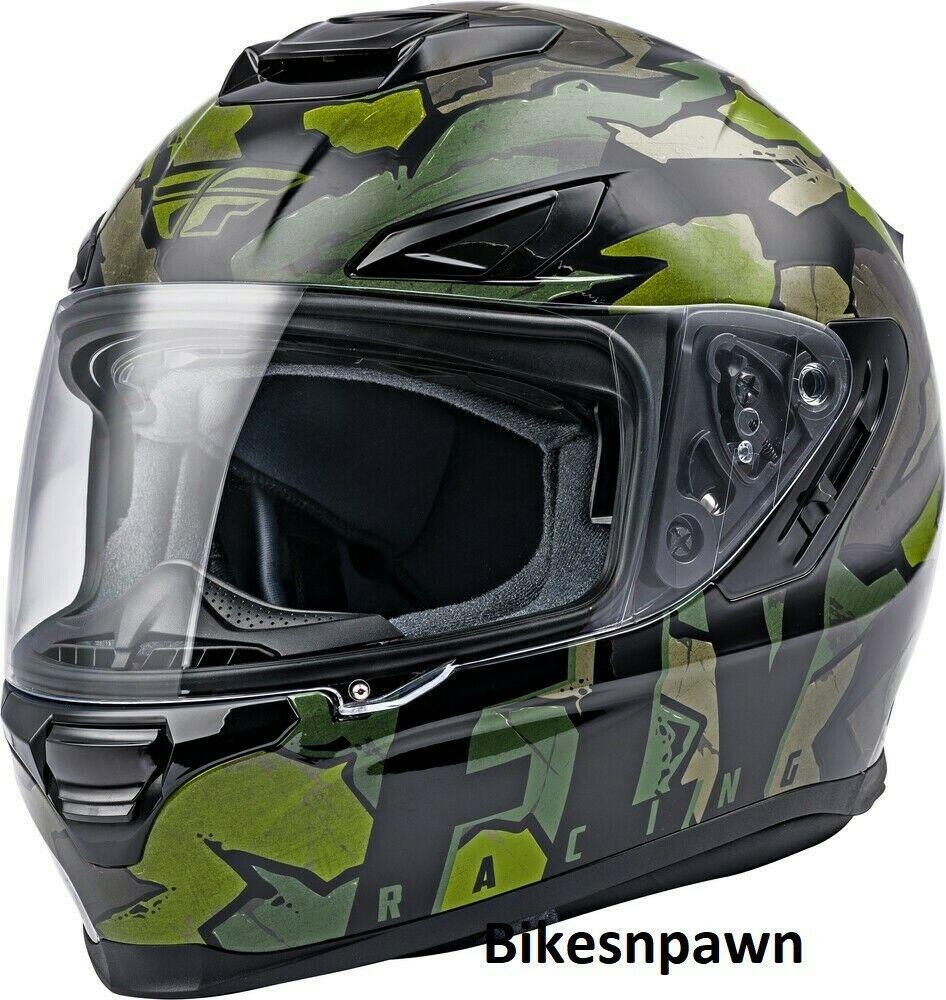 2X Fly Racing Sentinel Ambush Motorcycle Helmet Camo/Green/Grey DOT & ECE